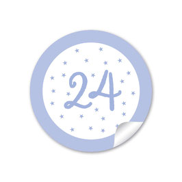 Adventskalenderzahlen - Sternchen - lila Blassblau