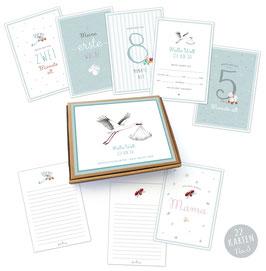 NEU!  22 Baby Meilenstein Karten Geschenkset No.3 • A6 Karten