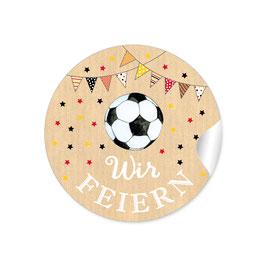 """""""Wir feiern"""" - Fußball mit Girlande -  natur schwarz rot gold"""