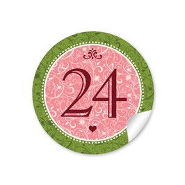 Adventskalenderzahlen - Ornamente - roso grün