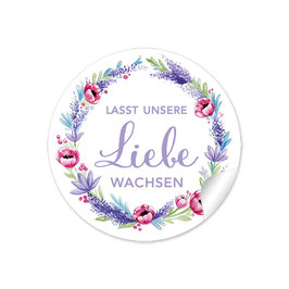"""Lasst unsere Liebe wachsen"" - Lavendel Mohnblume - lila grün rot"