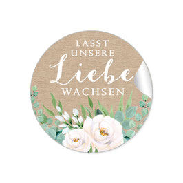 """""""Lasst unsere Liebe wachsen"""" - Kraftpapier Look Blüten Rosen Blätter grün weiß"""