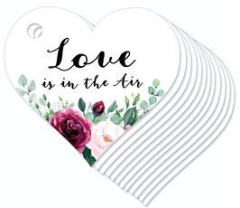 12 HERZ ANHÄNGER • Love is in the Air •  Boho Rosen rosa rot grün