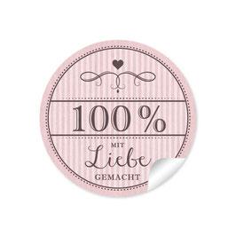 """""""100% mit Liebe gemacht""""- Vintage Retro Style - rosa"""