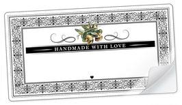 """10 Sticker rechteckig groß -""""Handmade with Love""""- Oliven Ornamente - mit Freitextfeld"""