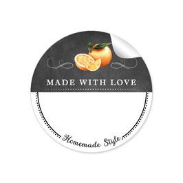 MADE WITH LOVE- HOMEMADE STYLE ORANGE - Kreidetafel schwarz weiß - mit Freitextfeld BREIT