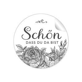 """""""Schön, dass du da bist"""" - Rosen  - weiß / schwarz"""
