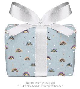 3 Bögen Geschenkpapier - Regenbogen blau- gedruckt auf PEFC zertifiziertem Papier, 50 x 70 cm