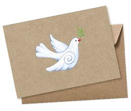 TAUBE Kraftpapier 1 Postkarte + Umschlag