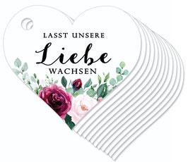 12 HERZ ANHÄNGER • Lasst unsere Liebe wachsen •  Boho Rosen rosa rot grün