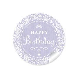 """Happy Birthday"" - Shabby Chic -lila"