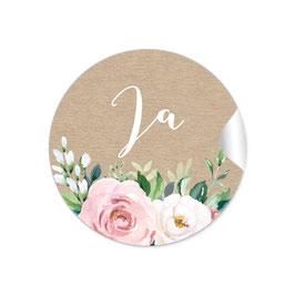 """Ja"" - Vintage Retro - Kraftpapier Look Rosen rosa weiß grün"