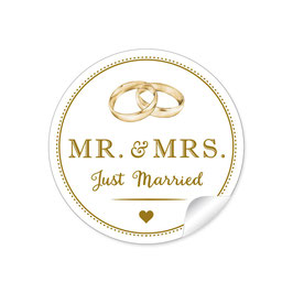 """MR. and MRS.  - Just married"" - Ringe"