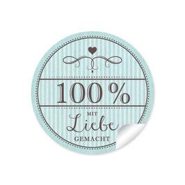 """""""100% mit Liebe gemacht""""- Vintage Retro Style - mint"""