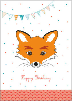 """Happy Birthday"" -  Fuchs mit Girlande - Weiß"
