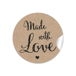 """Made with Love""- Vintage Retro Style - Kraftpapier Optik"