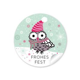 """""""Frohes Fest"""" - Eule - grün"""