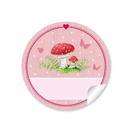 Fliegenpilz - rosa - mit Freitextfeld zum Beschriften