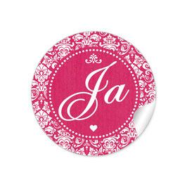 """Ja"" - Shabby Chic Style - fuchsia rot"