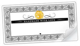"""10 Sticker rechteckig groß -""""Handmade with Love""""- Pasta Ornamente - mit Freitextfeld"""