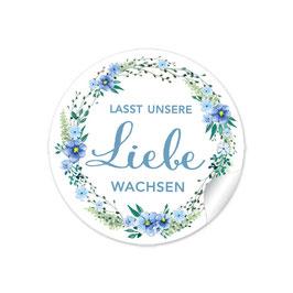 """""""Lasst unsere Liebe wachsen"""" - Blumenkranz - blau"""
