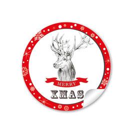 """""""Merry XMAS""""- Weihnachtshirsch - rot"""