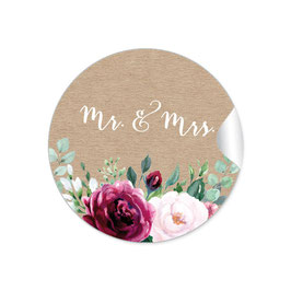 """MR. and MRS. - Kraftpapier Look Rosen rot rosa grün"