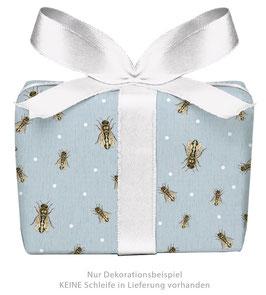 3 Bögen Geschenkpapier groß - Biene - GRAUBLAU -gedruckt auf PEFC™ zertifiziertem Papier