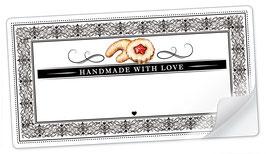 """10 Sticker rechteckig groß -""""Handmade with Love""""- Plätzchen Ornamente - mit Freitextfeld"""