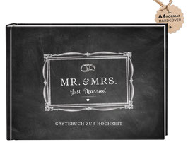 GÄSTEBUCH A4 HARDCOVER - Mr. & Mrs. Kreidetafel Look