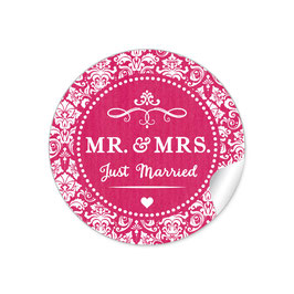 """MR. and MRS.  - Just married"" - Ornamente - fuchsia rot"