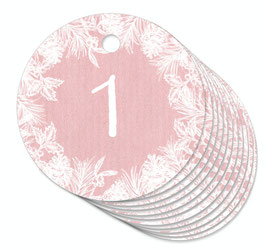 24 ANHÄNGER ADVENTSKALENDERZAHLEN 1-24 •  Zweige Kranz rosa