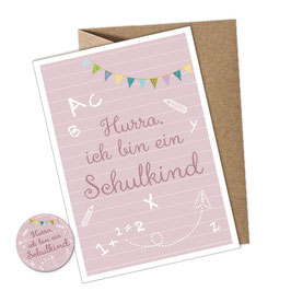 SET: 1 Postkarte + Button • HURRA ICH BIN EIN SCHULKIND ROSA