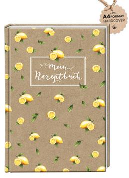 """DIN A4 KREATIV DIY KOCHBUCH ZITRONE KRAFTPAPIER LOOK """"Mein Rezeptbuch"""" zum Selbstbeschreiben braun (Hardcover)"""
