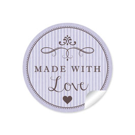 """Made with Love""- Vintage Retro Style - lila"