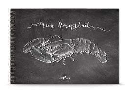 """DIN A5 KREATIV DIY KOCHBUCH """"Mein Rezeptbuch"""" HUMMER zum Selbstbeschreiben KREIDETAFEL LOOK (Spiralgebunden)"""