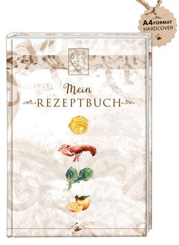 """DIN A4 KREATIV DIY KOCHBUCH """"Mein Rezeptbuch"""" zum Selbstbeschreiben braun (Hardcover)"""