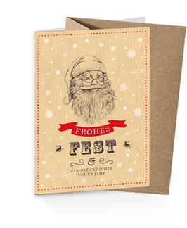 """Weihnachtsmann Retro - """"FROHES FEST & EIN GLÜCKLICHES NEUES JAHR"""" Natur"""