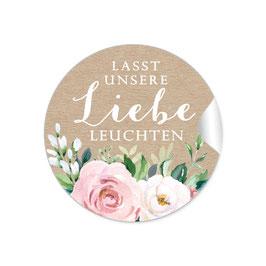 """Lasst unsere Liebe Leuchten""- Kraftpapier Look Rosen rosa weiß grün braun"