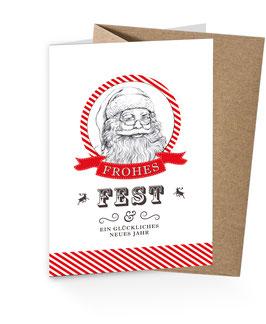 """Weihnachtsmann Retro - """"FROHES FEST & EIN GLÜCKLICHES NEUES JAHR"""" Rot weiß"""