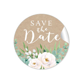 """Save the Date"" - Eukalyptus Kraftpapier Look weiß grün"
