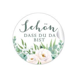 """""""Schön, dass du da bist"""" - Rosen Zweige Grün weiß"""