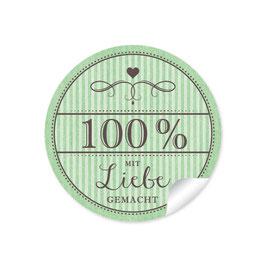 """""""100% mit Liebe gemacht""""- Vintage Retro Style - grün"""
