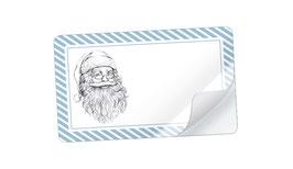 21 Sticker rechteckig klein -Weihnachtsmann blau weiß - mit Freitextfeld