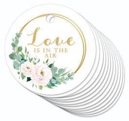 12 ANHÄNGER • Love is in the Air • Boho Rosen Ringe weiß grün