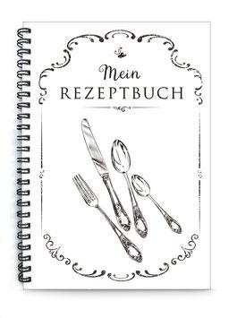 "DIN A5 KREATIV DIY KOCHBUCH ""Mein Rezeptbuch"" BESTECK zum Selbstbeschreiben schwarz weiß (Spiralgebunden)"