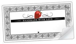 """10 Sticker rechteckig groß -""""Handmade with Love""""- Erdbeere Ornamente - mit Freitextfeld"""