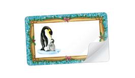 21 Sticker rechteckig klein - Pinguin mit Baby Nostalgie dunkel türkis- mit Freitextfeld