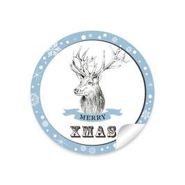 """""""Merry XMAS""""- Weihnachtshirsch - blau"""