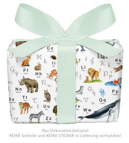 3 Bögen Geschenkpapier groß - ABC TIERE gedruckt auf PEFC™ zertifiziertem Papier